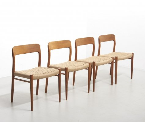 Four Dining Chairs Model 75 by Niels. O. Møller for Møllers Møbelfabrik, 1950's