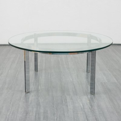 Mid Century high-quality 1970s coffee table in glass & chrome