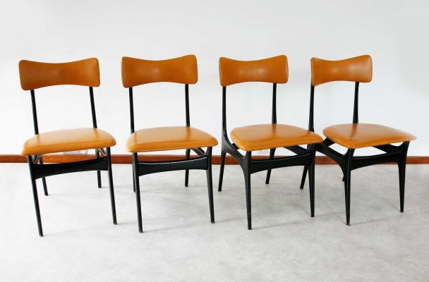 Set of 4 Alfred Hendrickx S3 Dining Chairs, 1950s