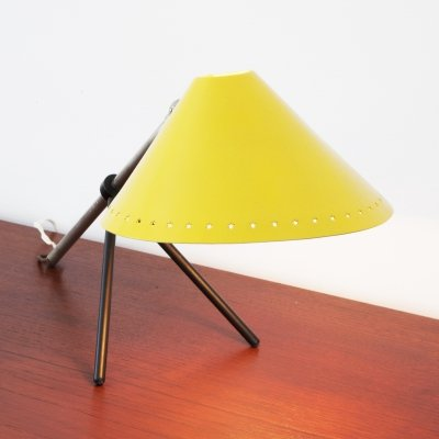 Yellow Pinocchio desk lamp or wall lamp by Hala Zeist, 1950s