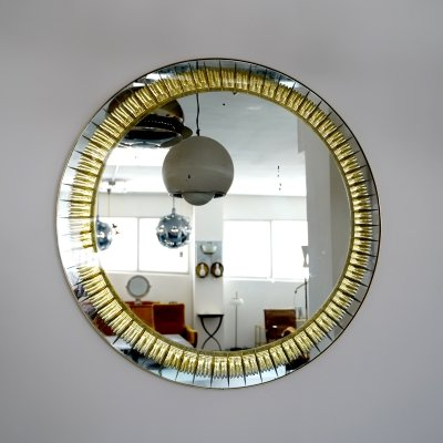 Brass & Cut Glass Cristal Art Mirror, Published 1960s
