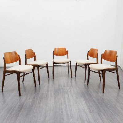 Set of 5 Mid Century dining room chairs by Hartmut Lohmeyer for Wilkhahn, 1950s