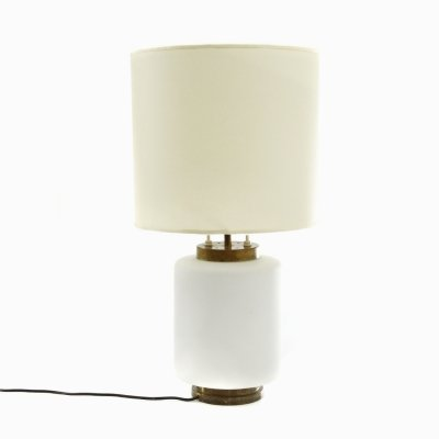Table lamp in opal glass & parchment shade in by Reggiani, 1950s