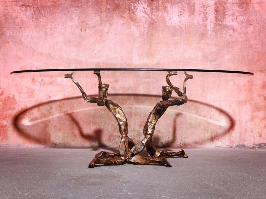 Salvino Marsura Trinidad Bronze & Glass Coffee Table, 70s