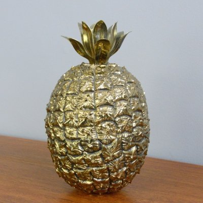 Mid Century Brass Pineapple Ice Bucket by Freddo Therm, Circa 1960s