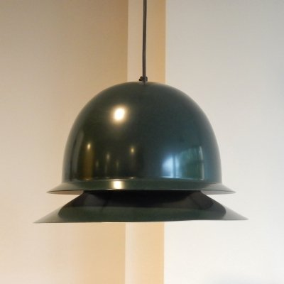 Dark green metal pendant lamp by Hans Agne Jakobsson for Svera, Sweden 1960's