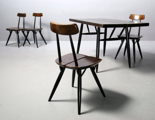 Set of 4 Chairs & Table by Ilmari Tapiovaara for Laukaan Puu, 1960s