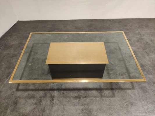 Vintage etched brass coffee table by Ricco D, 1970s