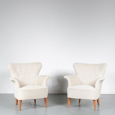 Pair of Carl Malmsten Lounge Chairs, Sweden 1950s