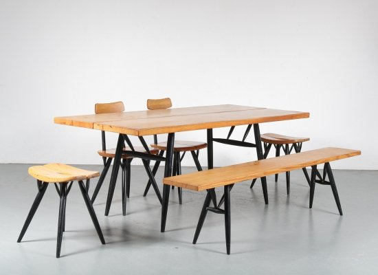 'Pirkka' Dining set by Ilmari Tapiovaara for Laukaan Puu, Finland 1950