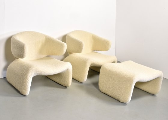 Pair of Bouclé 'Djinn' armchairs incl. footstool by Olivier Mourgue, 1960s