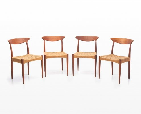 Set of 4 dining chairs by Arne Hovmand Olsen for Mogens Kold, 1960s
