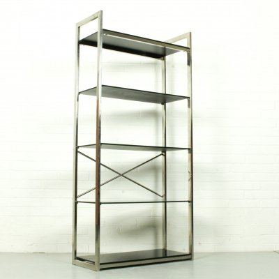 Chrome & Smoked Glass Shelving Unit, 1970s