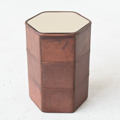 De Sede hexagon side table in brown buffalo leather, Switzerland 1970