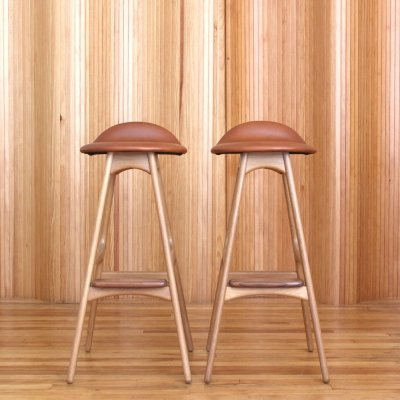 Pair of Erik Buch oak bar stools by O D Mobler