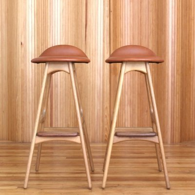 Pair of Erik Buch oak bar stools by O. D. Møbler, 1960s