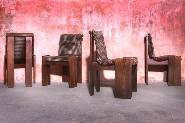 Set of 4 Vintage Brutalist Dining Chairs, 70s