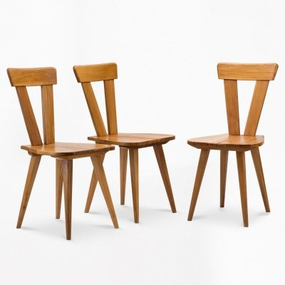Set of 3 ash chairs, 1945