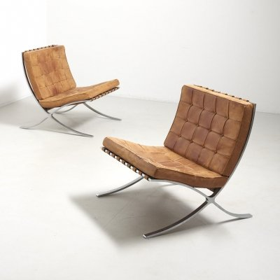 Pair of Barcelona Chairs by Ludwig Mies van der Rohe for Knoll Int., Germany