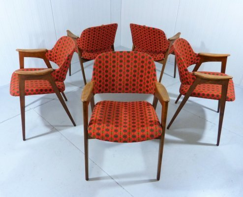 Set of 5 wooden chairs, 1950's