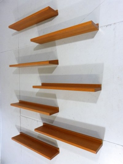 Teak wall- book shelves with blind wall fastening, 1960's