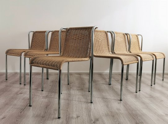 Set of 6 Tubular Papercord Dining Chairs, 1980's