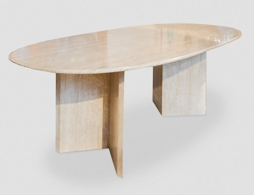 Large vintage Travertine Oval Dining table / Console, Italy 1970s