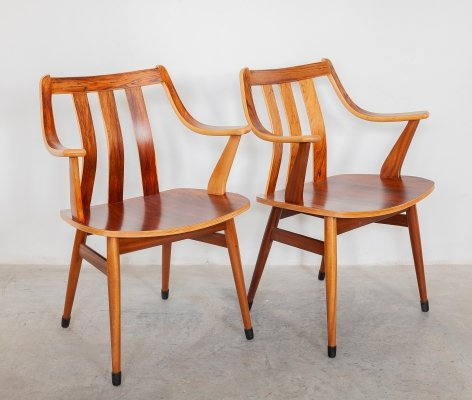 Set of Two Walnut Midcentury Armchairs, 1960s