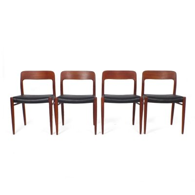 Set of 4 'model 75' dining chairs by Niels O. Møller for J.L. Møller, 1950s