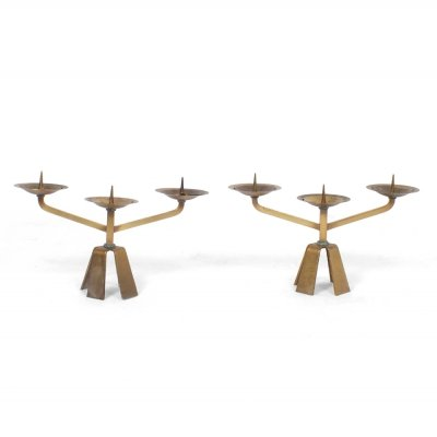 Pair of Brutalist candle holders, 1970s