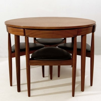 Hans Olsen Extendable Dining Table With Four Chairs for Frem Røjle, Denmark 1960