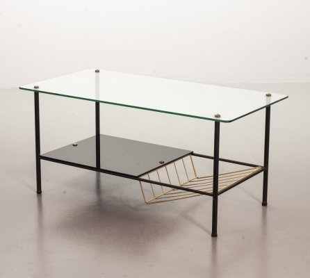 Pierre Guariche coffee table with magazine holder for Airborne, France 1950s