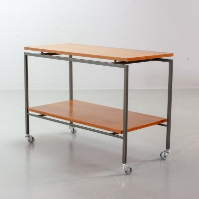Minimalistic Dutch Design Stiemsma Mobile Teak Trolley / Side Table, 1960s