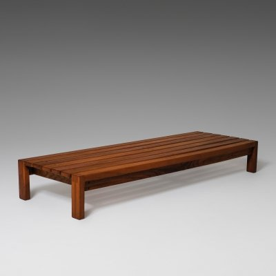 French low Bench in solid Elm, France 1960s