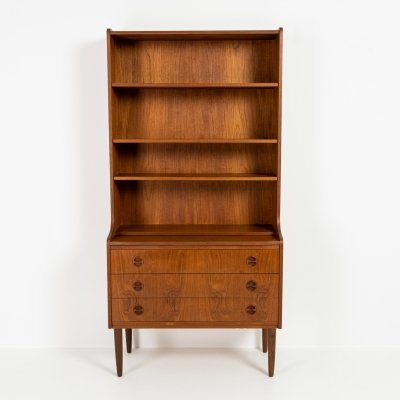 Teak bookshelf with pull-out desk, 1960s