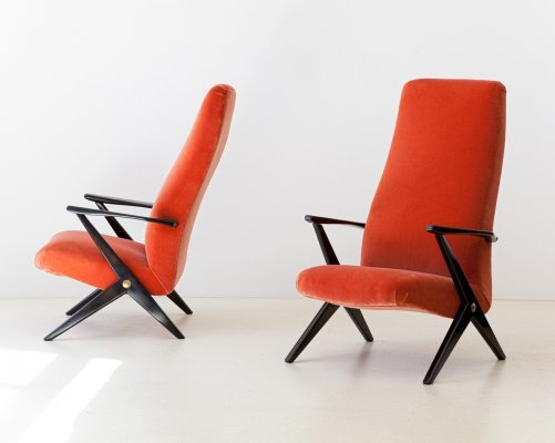Pair of Italian Rust Color Velvet Lounge Chairs, 1950s