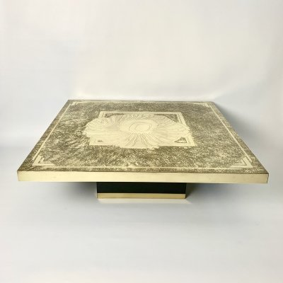 Stunning coffee table in engraved & etched brass by Georges Mathias