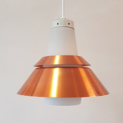 Danish copper & glass hanging lamp by Voss Belysning, 1960s