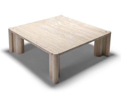 Gae Aulenti Jumbo Travertine Square Coffee Table, 1960's