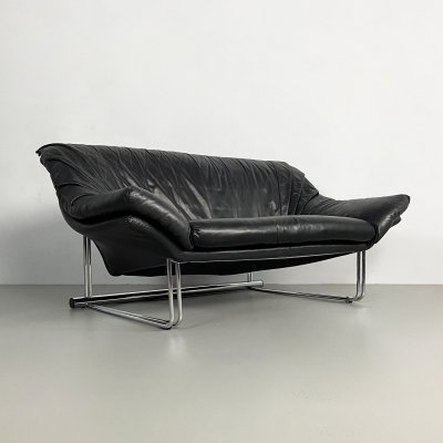 Postmodern Leather & Chrome Sofa, c.1970