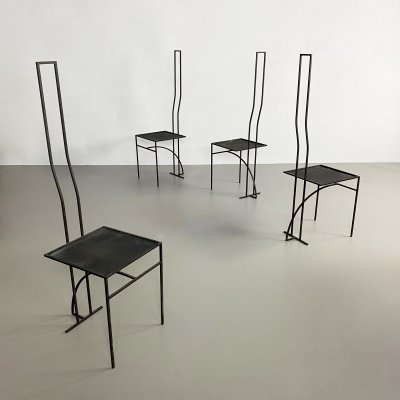 Set of 4 Sculptural Black Postmodern Iron Dining Chairs
