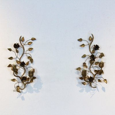 Exotic pair of Gilt Floral Rose Sconces by Hans Kögl