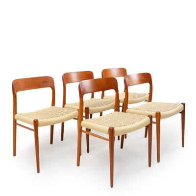 Set of 5 Papercord No 75 Chairs by Niels O. Møller for JL Møllers Møbelfabrik, 1960s
