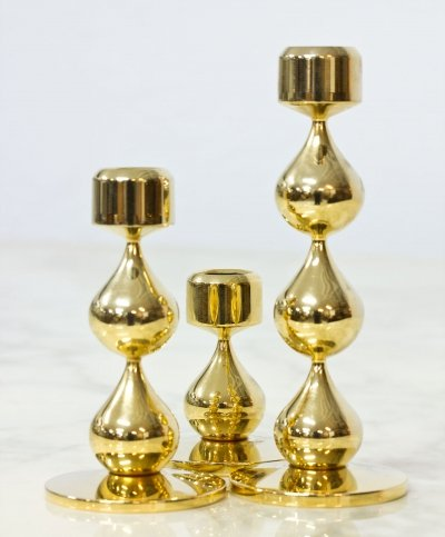 Set of 3 Gold Plated Candlesticks by Asmussen, Denmark