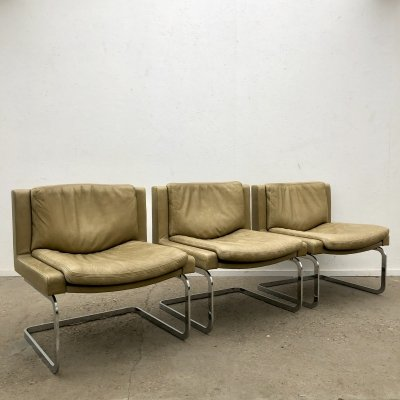 Green leather executive chairs by Robert Haussmann for De Sede, 1970s