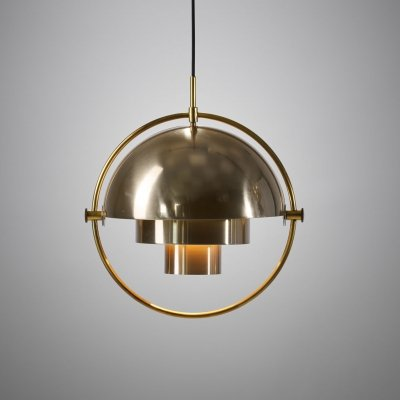 Brass Multi-Lite Pendant by Louis Weisdorf for Lyfa, Denmark 1972