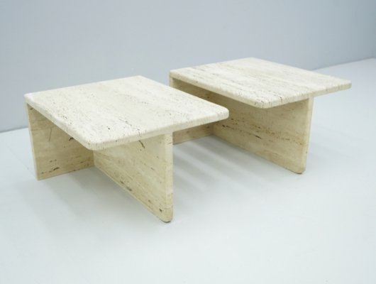 Pair of rectangular Twin Travertine Coffee or Side Tables, 1970s