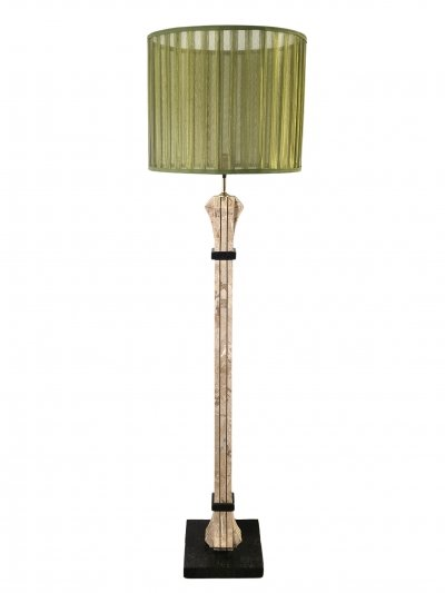 Tessellated marble & brass inlay floor lamp by Maitland Smith, 1970s