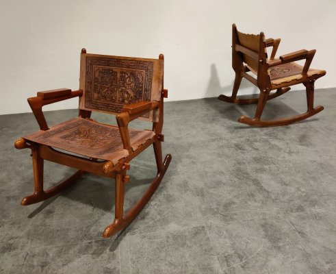 Pair of Angel Pazmino Leather & Wood Rocking Chairs, 1960s