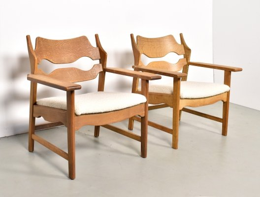 Pair of Razor blade lounge chairs by Henning Kjærnulf for Nyrop & Maag AS, 1960s